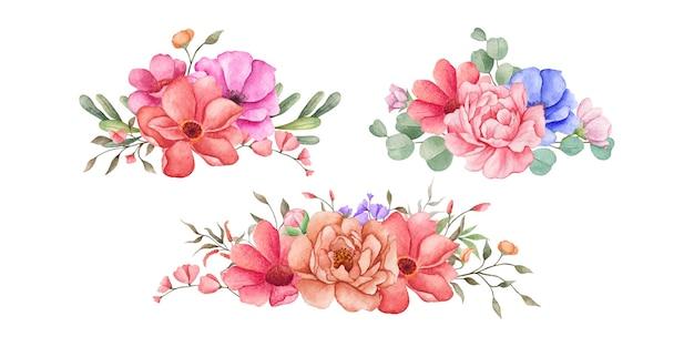 Conjunto de arranjos de buquês de flores em aquarela