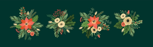 Conjunto de arranjos de flores de natal e feliz ano novo. árvore de natal, flores, frutas. símbolos de ano novo. molde do projeto do vetor.