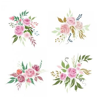 Conjunto de arranjos de flores do casamento com rosas e folhas