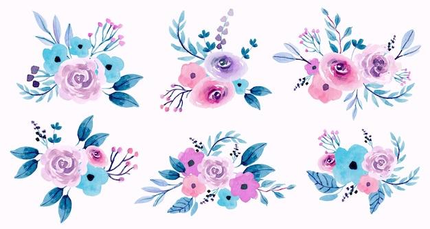 Conjunto de arranjos forais em aquarela pastel roxo e rosa
