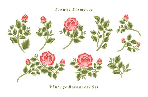 Conjunto de arranjos vintage de buquê de flores de peônia