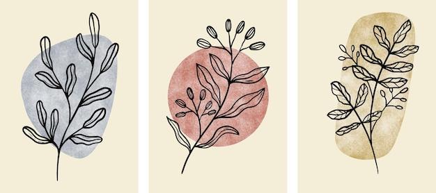 Conjunto de arte abstrata da parede botânica, folhas, ramo de boho.