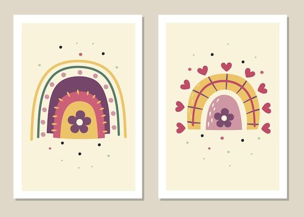 Conjunto de arte abstrata de parede de arco-íris.