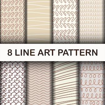 Conjunto de arte abstrata linha padrão