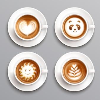 Conjunto de arte de café com leite