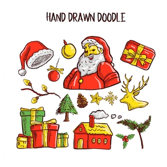 Conjunto de arte de doodle de natal