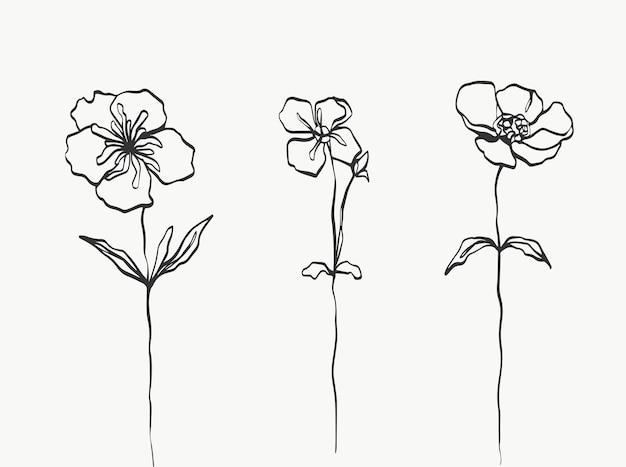 Conjunto de arte de linha de flores moderno ou mínimo perfeito para decoração de casa, como pôsteres