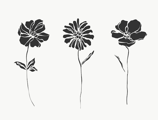 Conjunto de arte de linha de flores moderno ou mínimo perfeito para decoração de casa, como vetor de pôsteres