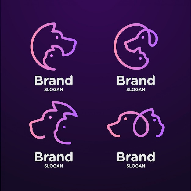 Conjunto de arte de linha de logotipo de gato e cachorro