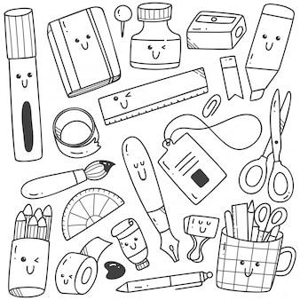 Conjunto de arte de linha doodles estacionárias de estilo kawaii