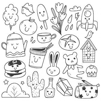 Conjunto de arte de linha doodles kawaii