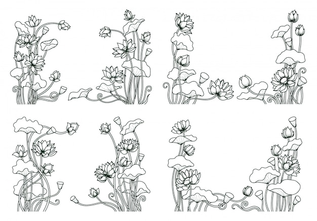 Conjunto de arte de linha floral de lótus