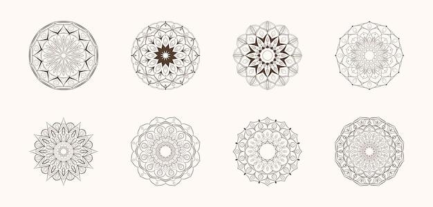 Conjunto de arte de mandala de esboço desenhado à mão