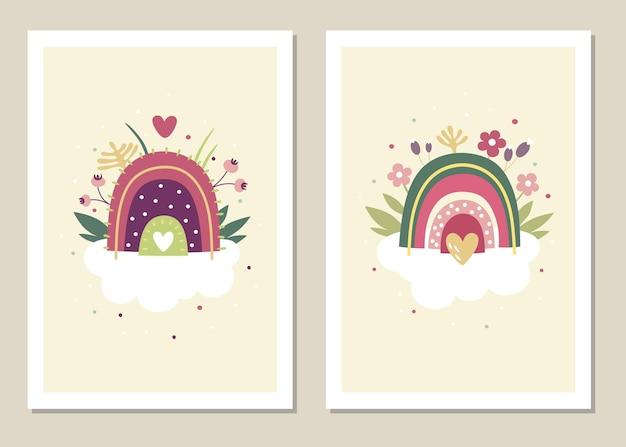 Conjunto de arte de parede. arco-íris na nuvem e formas