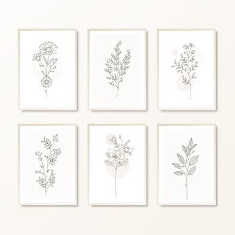 Conjunto de arte de parede boho desenhada à mão para decoração de parede botânica