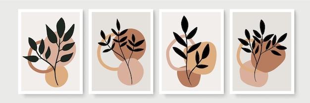 Conjunto de arte de parede botânica. arte de linha folhagem desenho com forma abstrata. arte de parede mínima e natural.