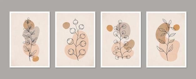 Conjunto de arte de parede botânica arte de parede mínima e natural boho