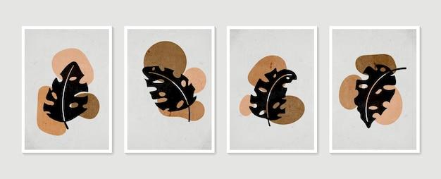 Conjunto de arte de parede botânica arte de parede mínima e natural desenho de folhagem de boho com forma abstrata
