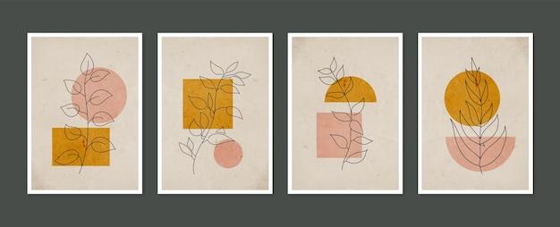 Conjunto de arte de parede botânica arte de parede minimalista e natural