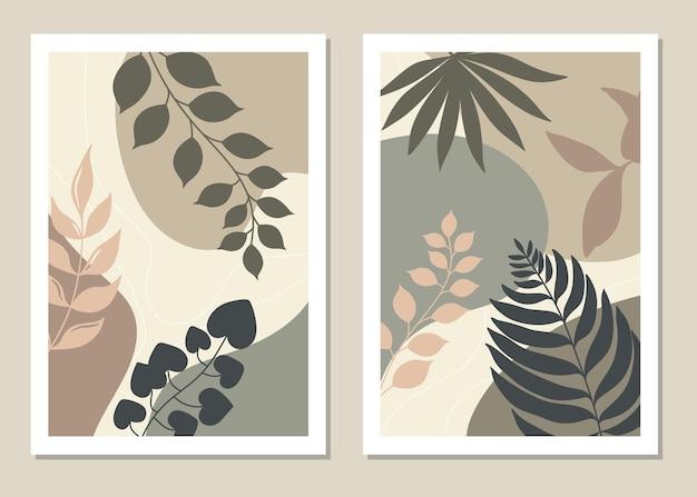 Conjunto de arte de parede botânica.