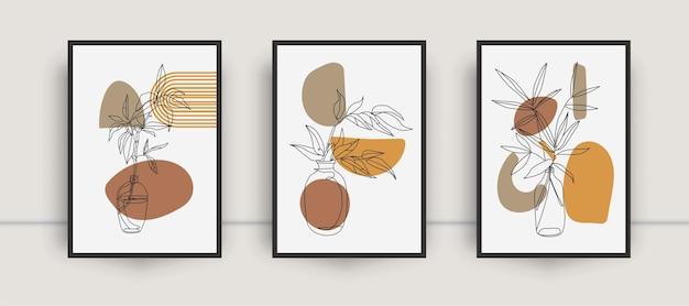 Conjunto de arte de parede botânica