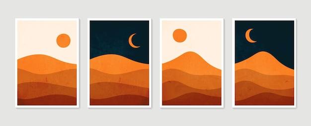 Conjunto de arte de parede de montanha. dia e noite. ilustração de paisagens em tons de terra em vetor definido com lua e sol.