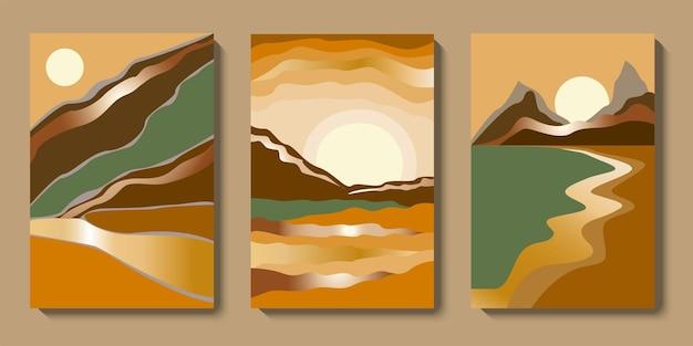 Conjunto de arte de parede de paisagem de ouro abstrato minimalista coleção de luxo de fundo de montanhas do meio do século