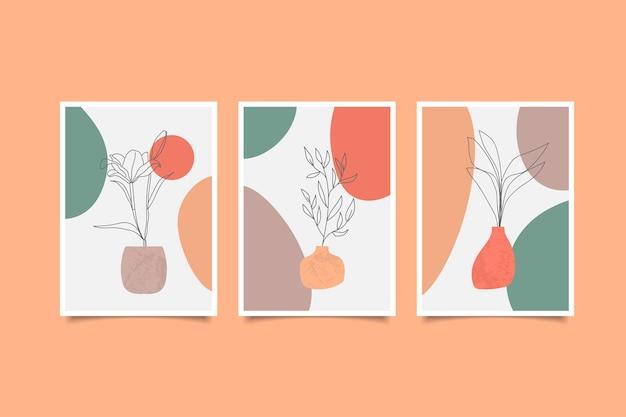 Conjunto de arte de parede minimalista floral desenhado à mão