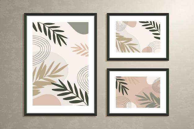 Conjunto de arte de parede, três pôsteres com folhas e formas botânicas abstratas, cores pastéis.
