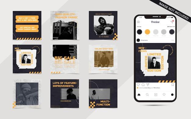 Conjunto de arte de rua, moda urbana, banner de feed de postagem de mídia social para modelo de promoção de venda quadrada do instagram