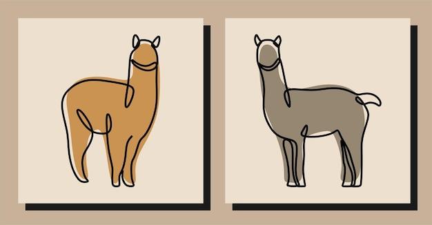Conjunto de arte em linha contínua alpaca animal oneline