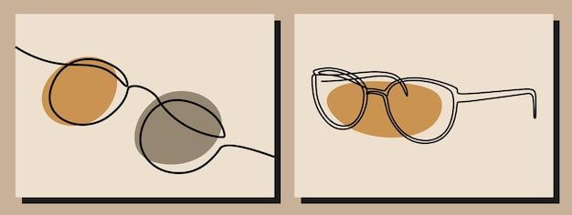 Conjunto de arte em linha contínua oneline de óculos