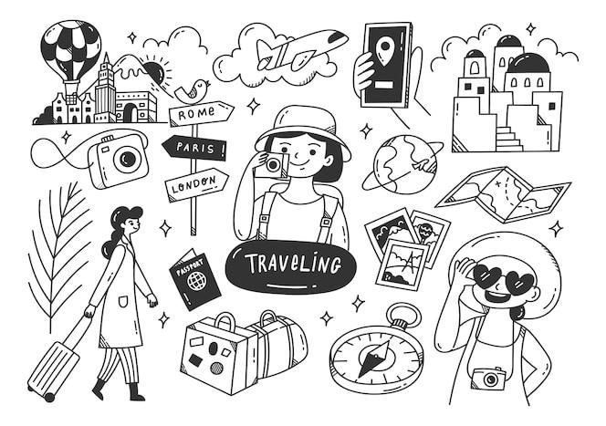 Conjunto de arte em linha de doodle de viagem