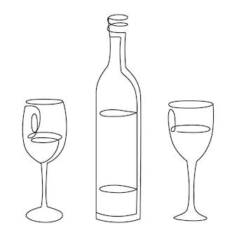 Conjunto de arte em linha, garrafa de vinho com duas taças