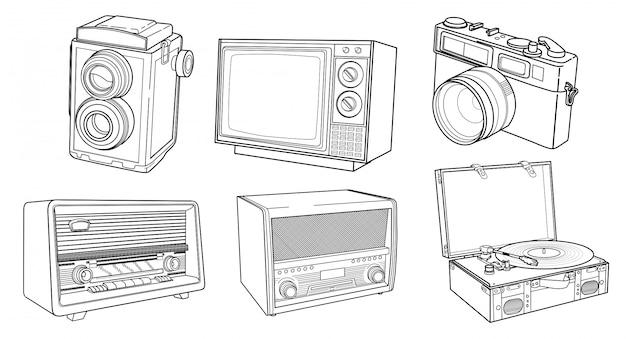 Conjunto de arte linha detalhada dispositivo vintage