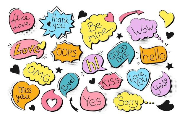Conjunto de arte pop em quadrinhos com bolhas de discurso