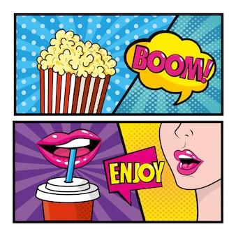 Conjunto de arte pop em quadrinhos com pipoca e mulher bebendo refrigerante com mensagens