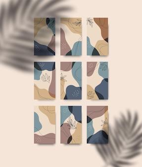 Conjunto de artes de parede abstrata botânica