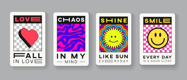 Conjunto de artes de patch abstrato moderno na moda. coleção de cartões de etiqueta legal para impressão. alfinetes de amor, caos, brilho e sorriso.