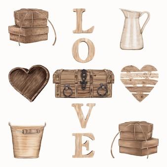 Conjunto de artigos de madeira para o dia dos namorados