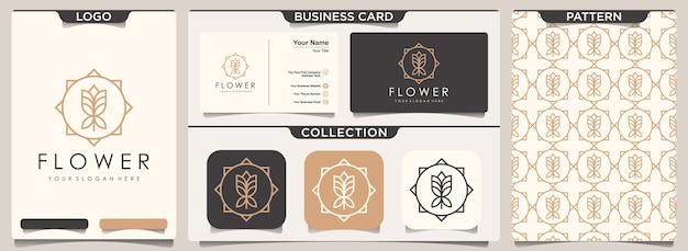 Conjunto de artigos de papelaria com padrão floral elegante e cartão de visita