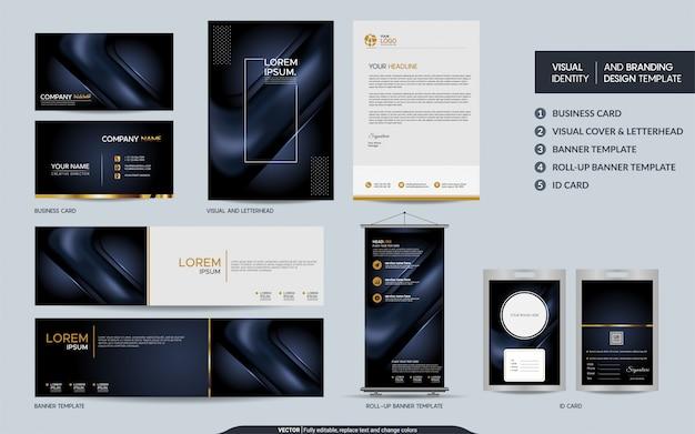 Conjunto de artigos de papelaria da marinha escura de luxo e identidade visual da marca com fundo abstrato de camadas de sobreposição
