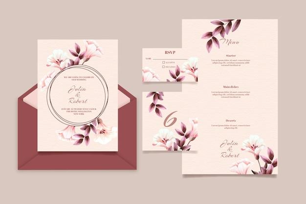 Conjunto de artigos de papelaria de casamento bonito