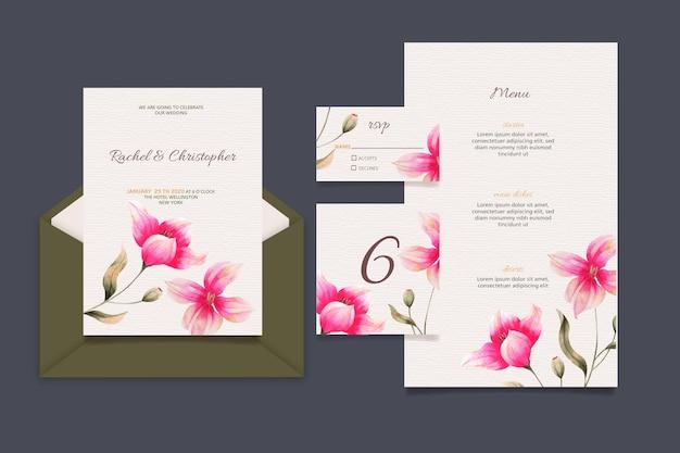 Conjunto de artigos de papelaria de casamento floral