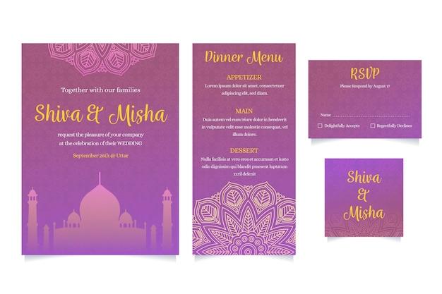 Conjunto de artigos de papelaria de casamento indiano