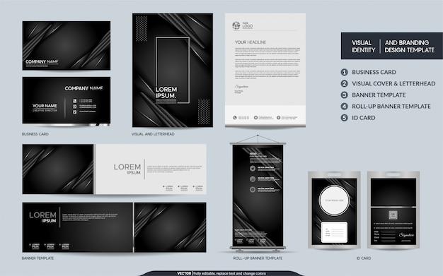 Conjunto de artigos de papelaria de luxo preto carbono e identidade visual da marca com sobreposição abstrata camadas de fundo.