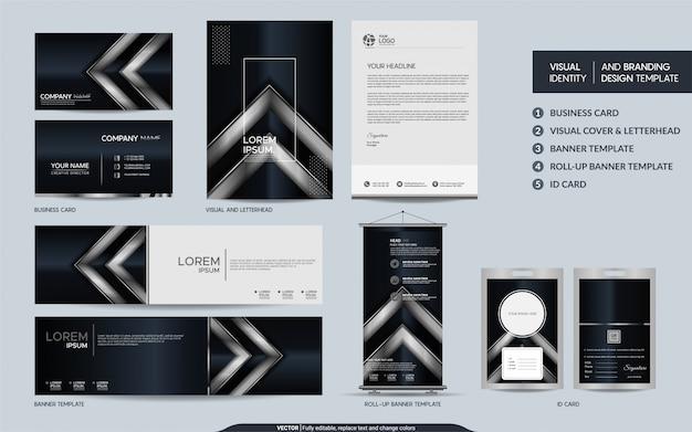 Conjunto de artigos de papelaria de luxo preto e prata e identidade visual da marca com sobreposição abstrata camadas fundo