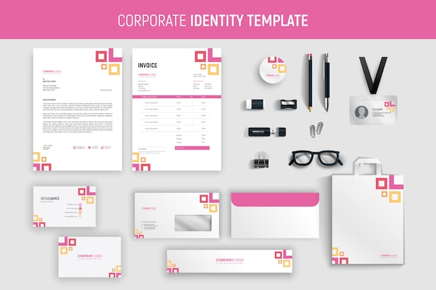 Conjunto de artigos de papelaria de negócios profissional rosa moderno