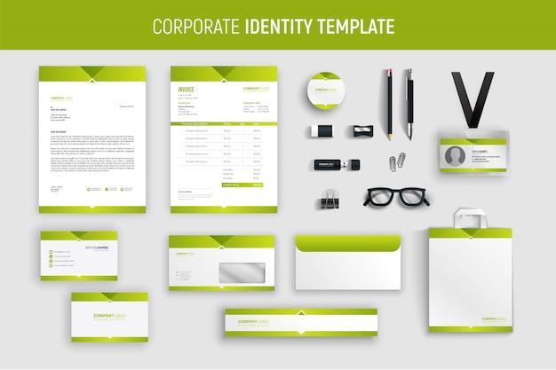 Conjunto de artigos de papelaria de negócios profissional verde moderno