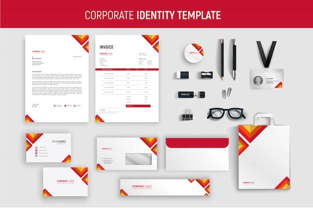 Conjunto de artigos de papelaria de negócios profissional vermelho moderno